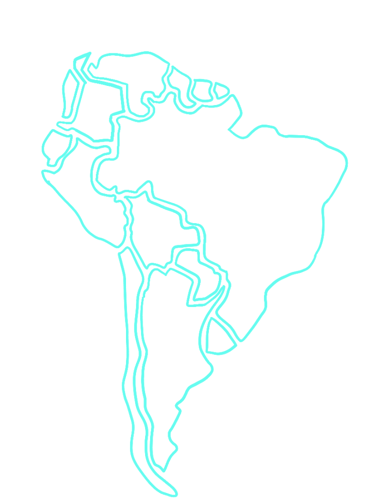 Map of South America with Colombia and Venezuela highlighted